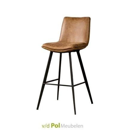 barstoel-pamplona-cognac-bruin-lichtbruin-metalen-poot-kunstleder-fabric-bekleding-metalen-zwarte-poot-barkruk-hoge-stoel-geen-armleuning-arm-bartafel-industrieel-stoer