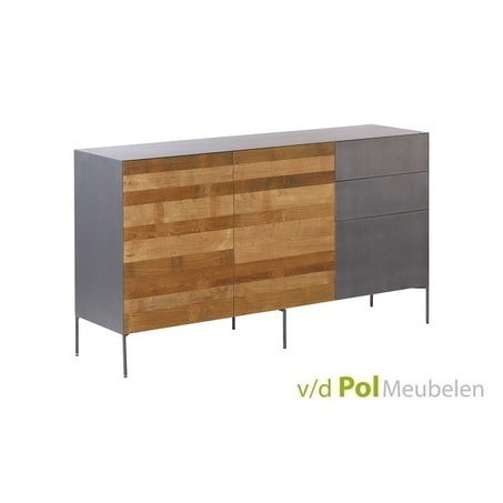 modern industrieel dressoir Pandora van gerecycled teak hout en metaal op pootjes