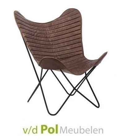 vlinderstoel-city-cognac-fauteuil-luie-stoel-stiksel-rugleuning-metalen-onderstel-geitenleer-leder-cognac-donkerbruin-ptmd-industrieel-stoer-landelijk
