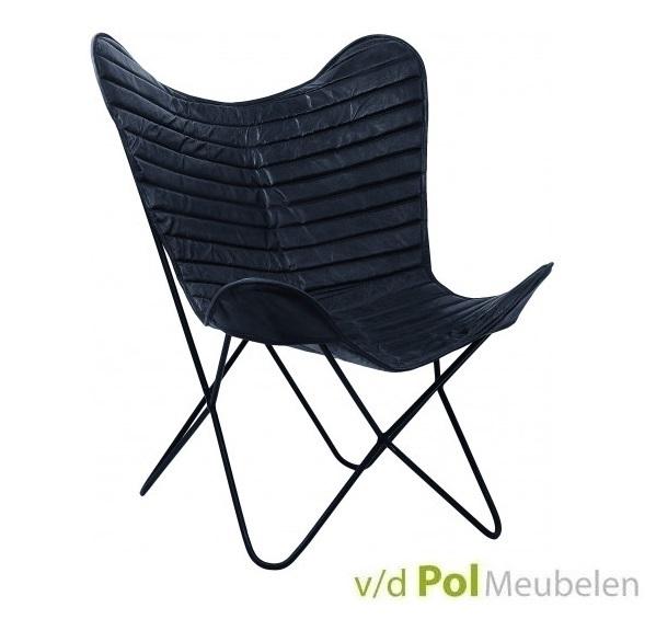vlinderstoel-city-zwart-fauteuil-luie-stoel-stiksel-rugleuning-metalen-onderstel-geitenleer-leder-ptmd-industrieel-stoer-landelijk-butterfly-chair
