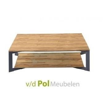 lage vierkante salontafel Pandora van gerecycled teakhout en metaal