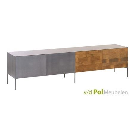 tv-dressoir-220-cm-meubel-pandora-massief-metaal-meubel-lage-kast-televisie-klep-2-lades-2-deurtjes-industrieel-stoer-teakhout-teak-kast-muurkast