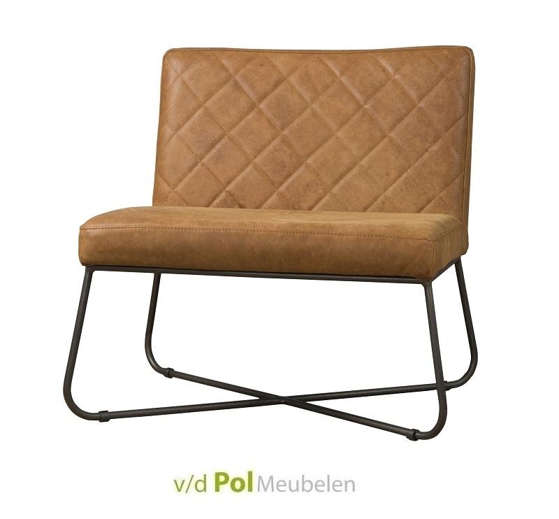 fauteuil-rodeo-cognac-rust-metalen-kruispoot-geruit-stiksel-zwarte-poot-leder-leer-lichtbruin-zitbank-bankje-zonder-armleuning