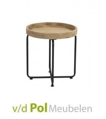 bijzettafel-rond-metalen-onderstel-tikal-industrieel-stoer-houten-blad-metalen-poot-opstaande-rand