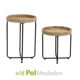 set-2x-bijzettafel-rond-metalen-poot-houten-tafelblad-industrieel-modern-hip-fris-twee-salontafels