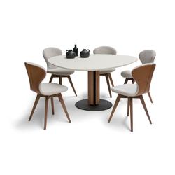 Brees New World Steely eettafel design met organische vorm en kolompoot