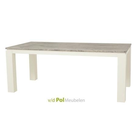 tafel-roy-towerliving-160-180-200-220-240-cm-vergrijsd-eiken-landelijk-witte-houten-poot-strakke-vormgeving