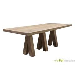 Eettafel-tafel-eethoek-Benz-drie-poten-A-poot-eikenhout-landelijk-stoer-houten-poot-220-240-260-280/300-cm-lange-tafel-robuust-vermeer-meubelen