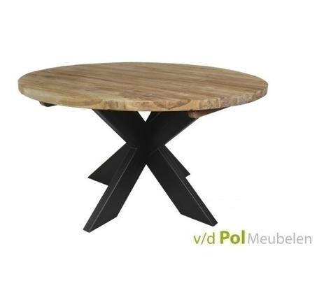 ronde-eettafel-teak-kruispoot-teakhout-eettafel-metalen-poot-industrieel-stoer-130-140-150-cm-rond