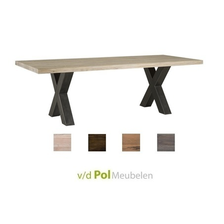 eettafel-tafel-leros-200-220-240-260-cm-tafel-industrieel-stoer-metalen-X-poot-kruispoot-metaal-eikenhout-eiken-lage-prijs-goedkoop-towerliving