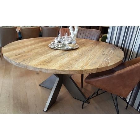 Ronde teakhouten tafel met metalen poot bekijken for Teakhouten tafel