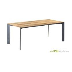 gerecycled teak houten eettafel pandora met metalen onderstel in maten 180-200-220-240-cm-metalen-poot-teakhout-modern-strak-design-tafel-eettafel-keukentafel-tower-living