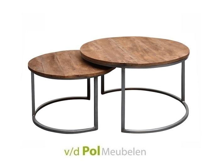 Set van twee ronde salontafels