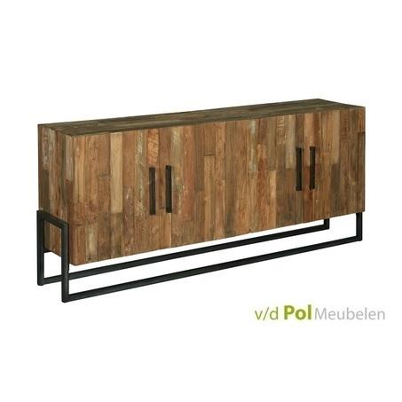 industrieel dressoir Potenza van gerecycled teak hout en zwart metaal van 200 cm