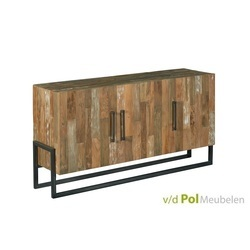 stoer dressoir Potenza van 166 cm van gerecycled teak hout en zwart stalen onderstel
