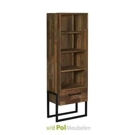 smalle boekenkast-potenza-190 x 66-cm-vakkenkast-kast-teakhout-gerecycled-hout-teak-boekenplank-industrieel-stoer-tower-living