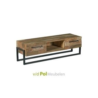 tv-dressoir-potenza-150-cm-tower-living-twee-2-lades-laden-metalen-onderstel-teakhout-gerecycled-teak-hout-zwart-metaal-stoer-industrieel