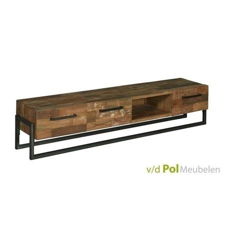 stoer industrieel tv meubel Potenza van 200 cm van gerecycled teakhout en zwart metaal