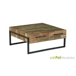 industriele lage salontafel Potenza van teakhout en zwart metaal, 100 cm breed