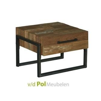 industriele hoektafel bijzettafel Potenza van gerecycled teak hout en zwart metaal