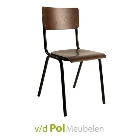 stoel-scuola-eetkamerstoel-eetstoel-schoolstoel-schoolstoeltje-houten-stoel-retro-school-bohemian-hout-walnoot-metaal-onderstel-zuiver
