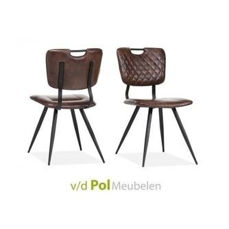 stoel-roza-maxfurn-eetkamerstoel-eetstoel-retro-metalen-zwarte-ronde-poot-handgreep-geruit-stiksel-rugleuning-bureaustoel-hip-modern-bruin-donkerbruin-lichtbruin-taupe