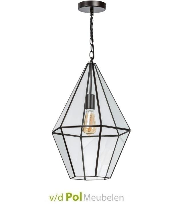 Hanglamp druppel staal met glas