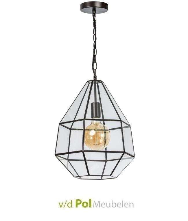 Hanglamp peer staal met glas