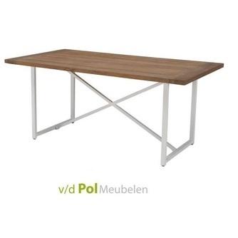 Houten Tafel Met Wit Onderstel.Frisse Tuintafel Air Wit Onderstel Applebee 210 Cm X 100 Cm