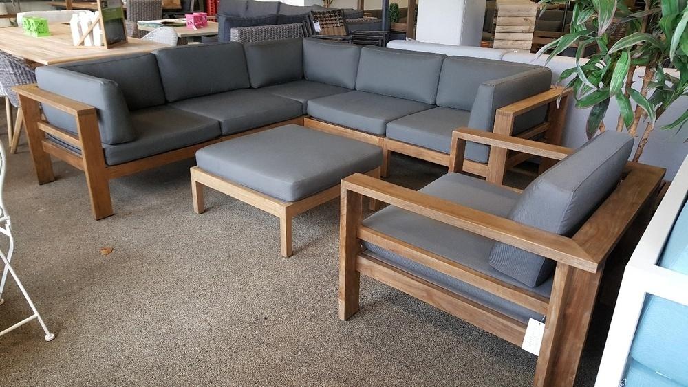 Houten Lounge Stoel Buiten.Complete Loungeset Teakhout Met Loungestoel