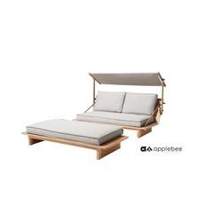 loungeset-robinson-met-zonnescherm-footstool-applebee-loungebank-ligbed-teakhout