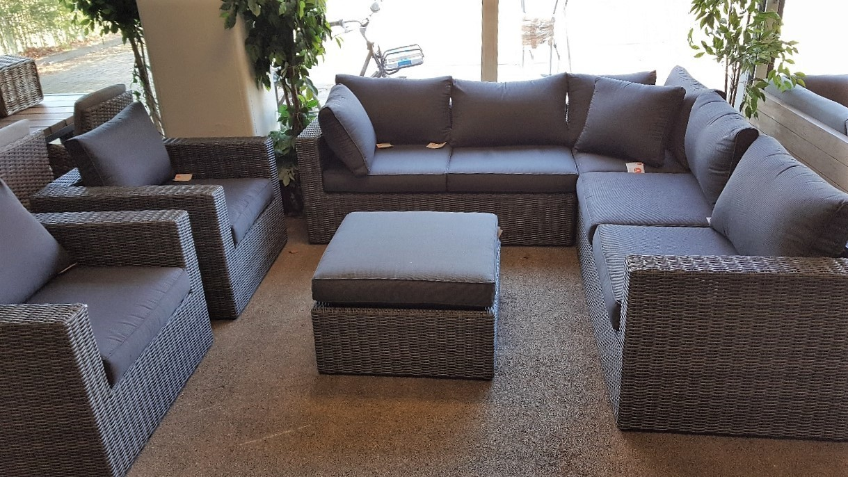 Loungeset antraciet wicker 6-delig