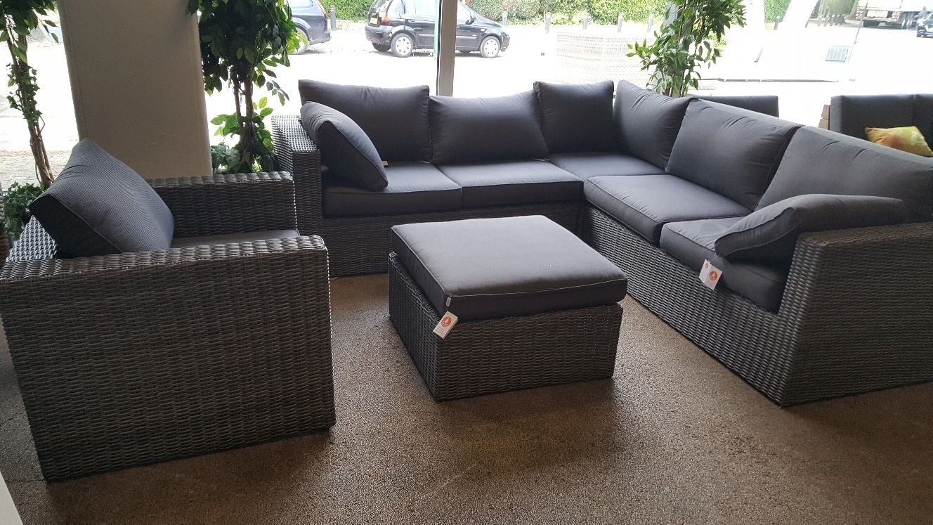 Loungeset antraciet wicker 5-delig