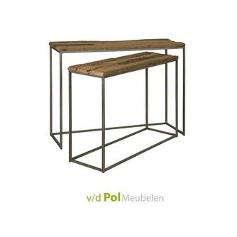 industriële-haltafel-sidetable-set-van-twee-robuust-hout-metaal-onderstel-tower-living-renew