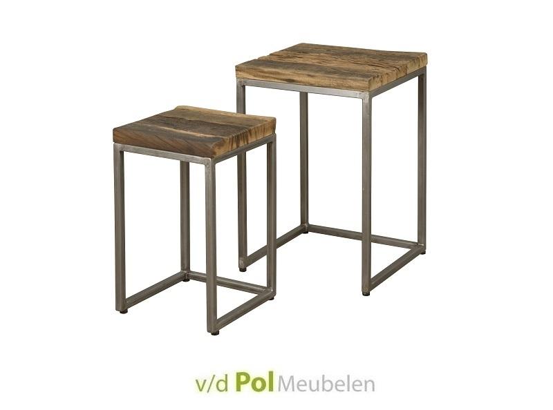 Set salontafels met gerecycled houten blad