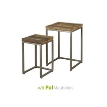 Set salontafels metaal met gerecycled hout