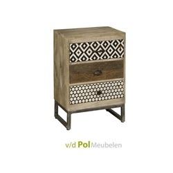 stoer klein kastje van hout met leuk dessin en 3 lades, metalen onderstel