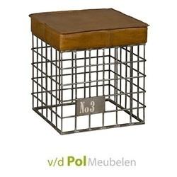Kruk-poef-stool-leder-dierenvel-dierenhuid-bruin-metaal-industrieel-stoer