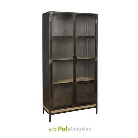 glaskast-buffetkast-industrieel-stoer-metaal-antiek-zwart-glas-deuren-studs