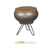 Industriële salontafel metaal mango hout Ø35 cm