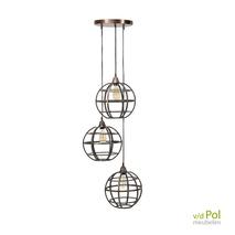 Industriële hanglamp Globe 3 lichts metaal