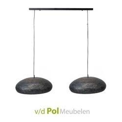 hanglamp-ovale-kap-ovaal-modern-stoer-metaal-goud-zwart-boven-eettafel
