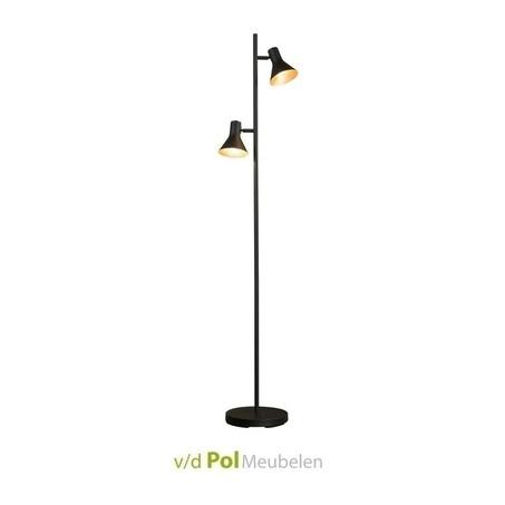 vloerlamp-mat-zwart-cups-klokvorm-modern-klassiek-zwart-goudkleur