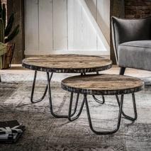 Set 2 salontafels rond stalen frame