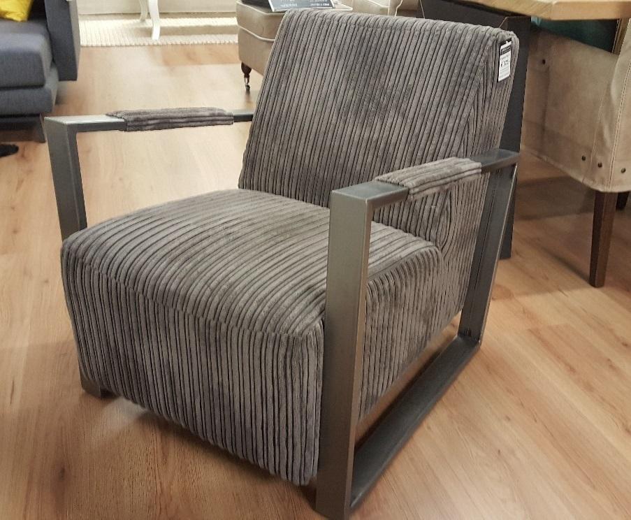 Showmodel grijze fauteuil Corduroy
