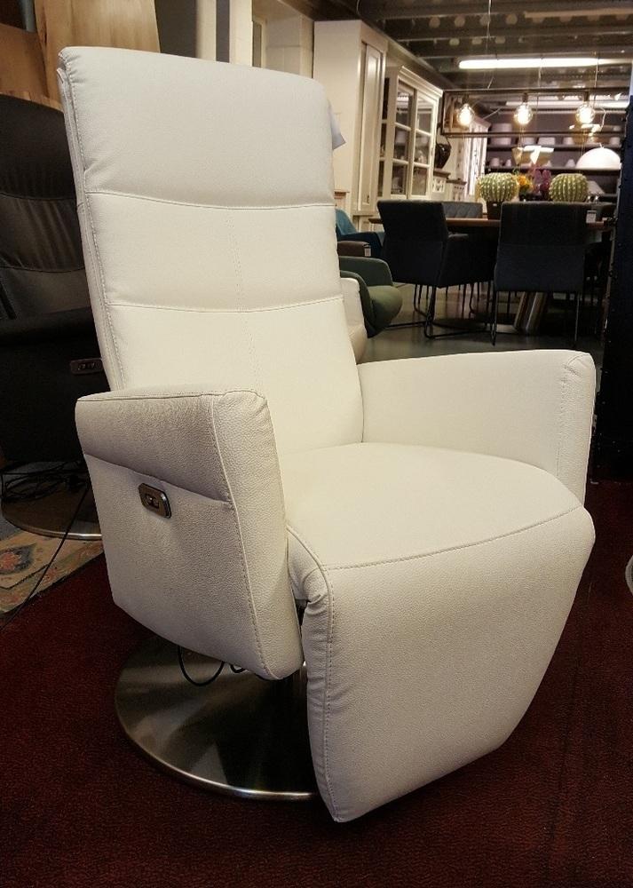 Witte Leren Relaxstoel.Showmodel Elektrisch Verstelbare Relaxfauteuil Wit Leer