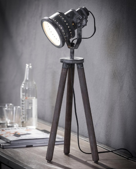 Tafellamp houten driepoot