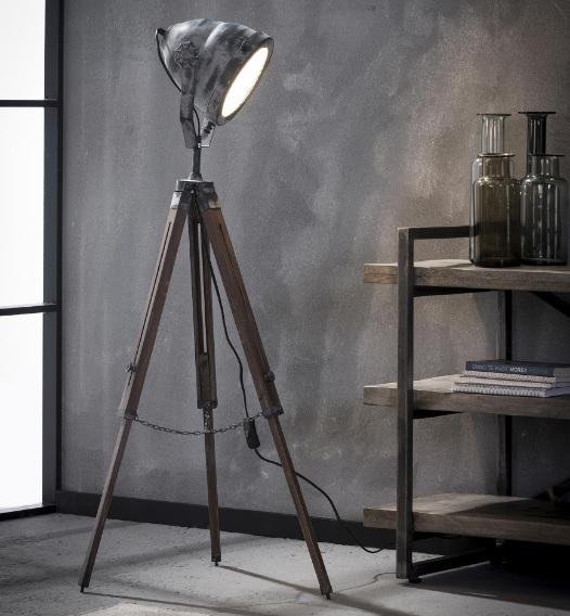 Vloerlamp houten driepoot