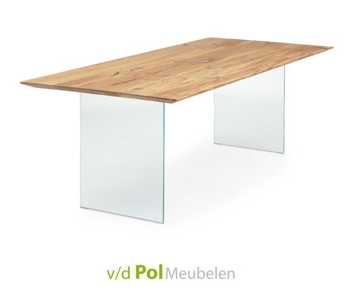 Glazen Eettafel 160 X 90.Eikenhouten Tafel Nouvion Verjongd Blad Glas Poot