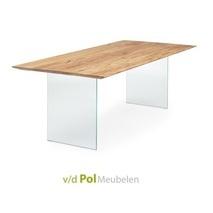 Eettafel verjongd blad glazen poot 140 - 300 cm